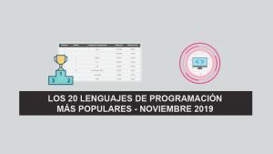 Los 20 Lenguajes de Programación más Populares – Noviembre 2019